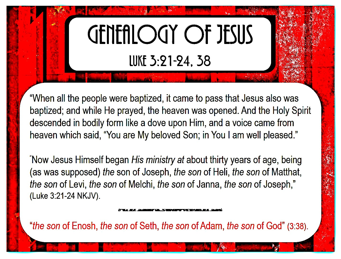 Genealogy of Jesus According to Luke